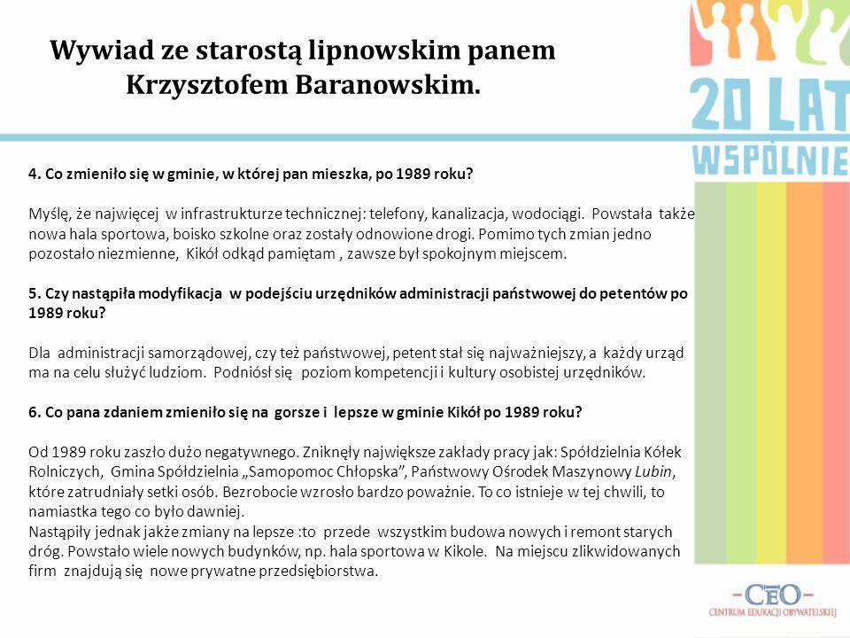 Wywiad ze starostą lipnowskim panem Krzysztofem Baranowskim.