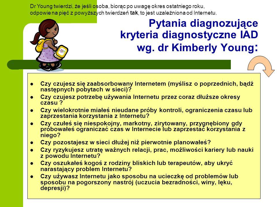 Pytania diagnozujące kryteria diagnostyczne IAD wg. dr Kimberly Young: