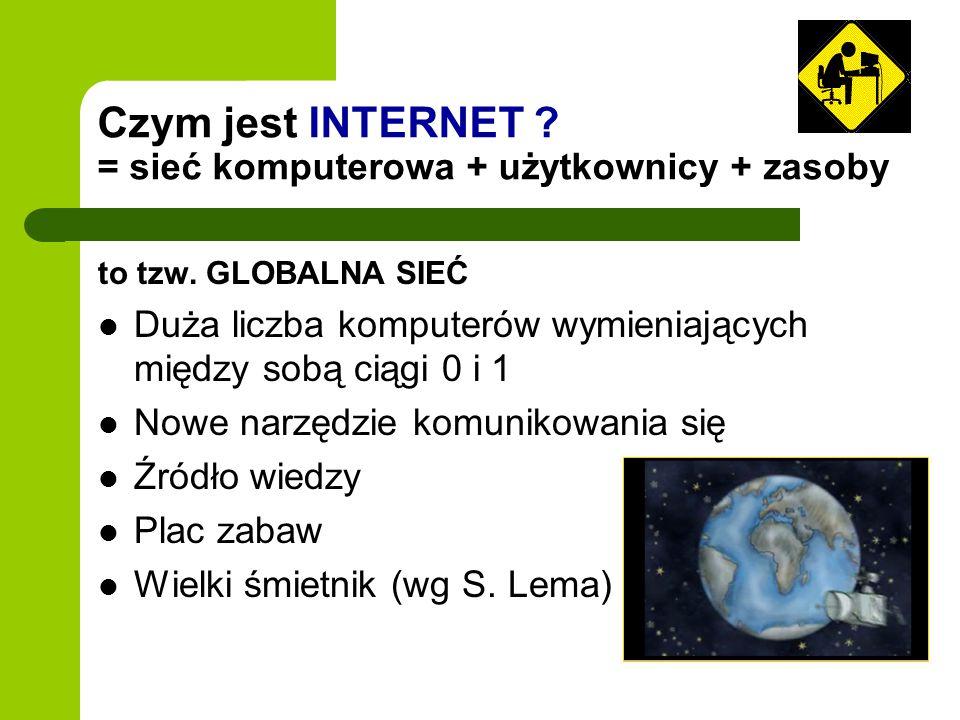 Czym jest INTERNET = sieć komputerowa + użytkownicy + zasoby