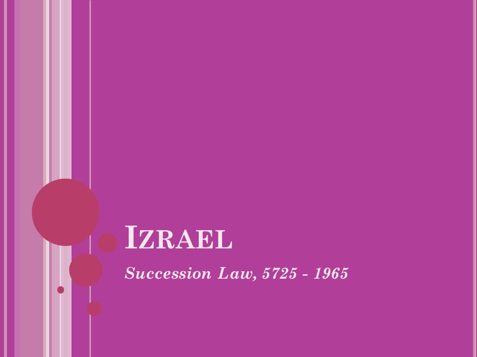Izrael Succession Law, 5725 - 1965