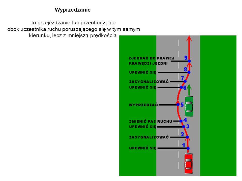 Wyprzedzanie to przejeżdżanie lub przechodzenie obok uczestnika ruchu poruszającego się w tym samym kierunku, lecz z mniejszą prędkością.