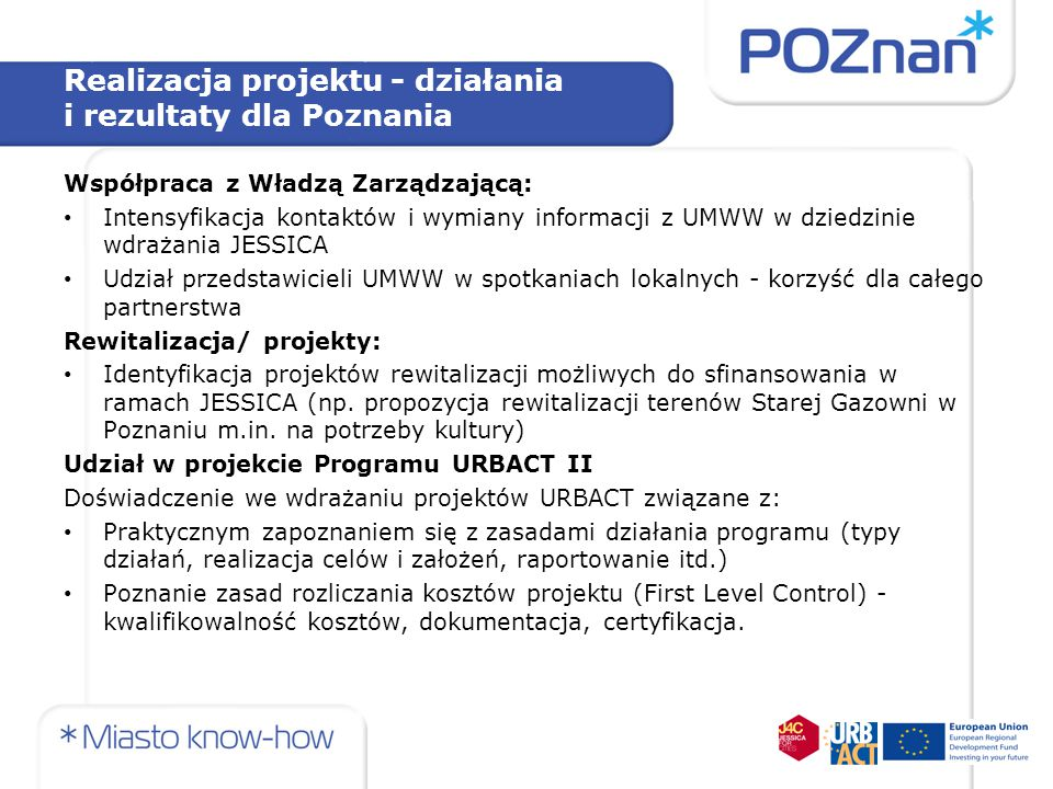 Realizacja projektu - działania i rezultaty dla Poznania