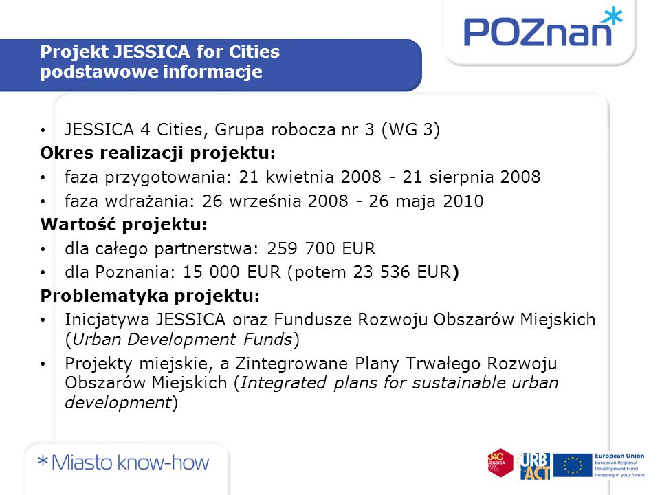 Projekt JESSICA for Cities podstawowe informacje