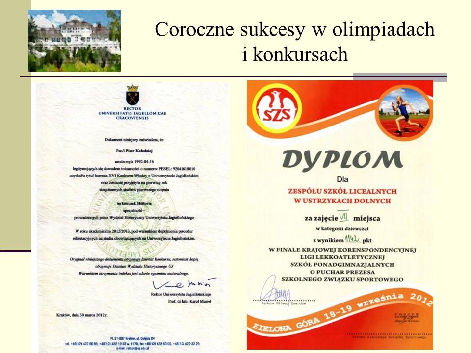 Coroczne sukcesy w olimpiadach