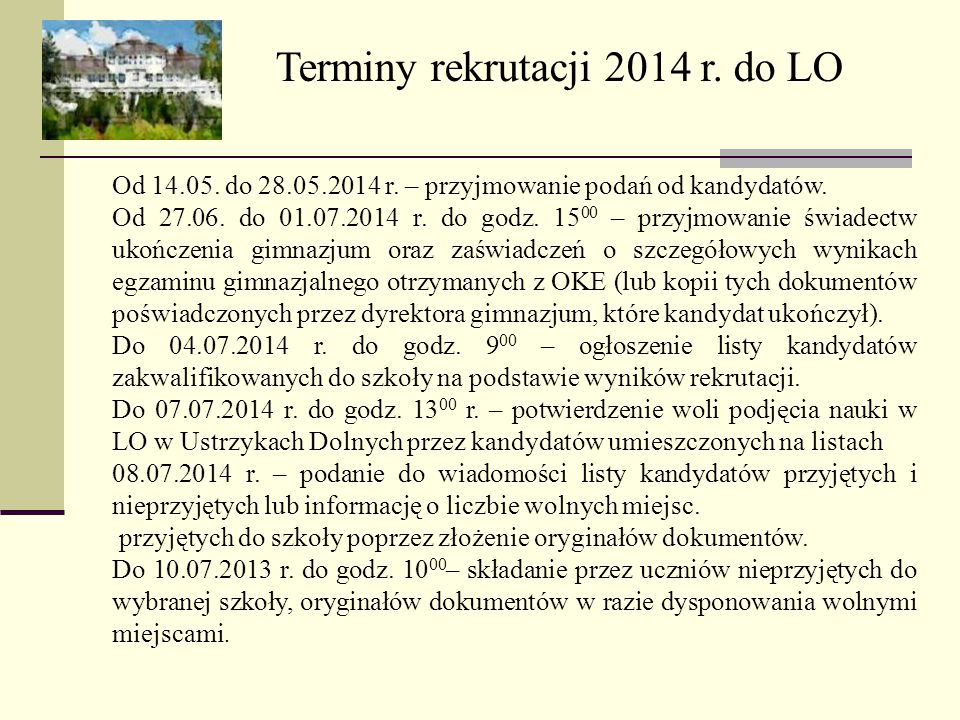Terminy rekrutacji 2014 r. do LO