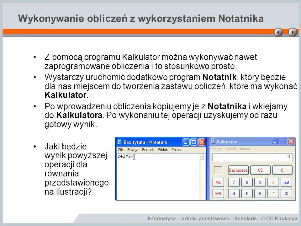 Wykonywanie obliczeń z wykorzystaniem Notatnika
