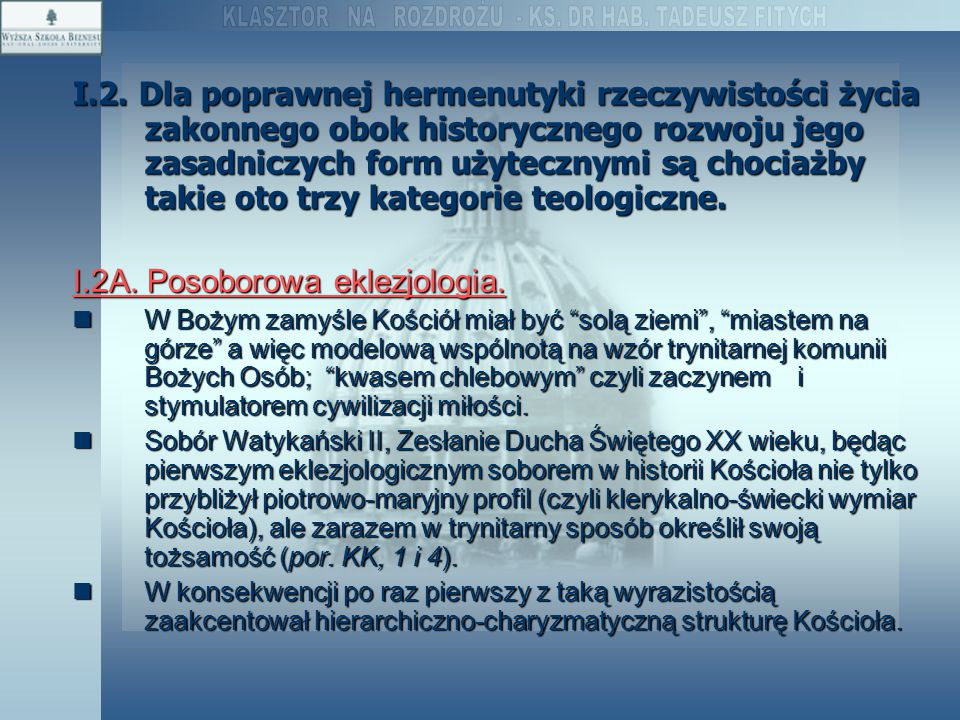 I.2A. Posoborowa eklezjologia.