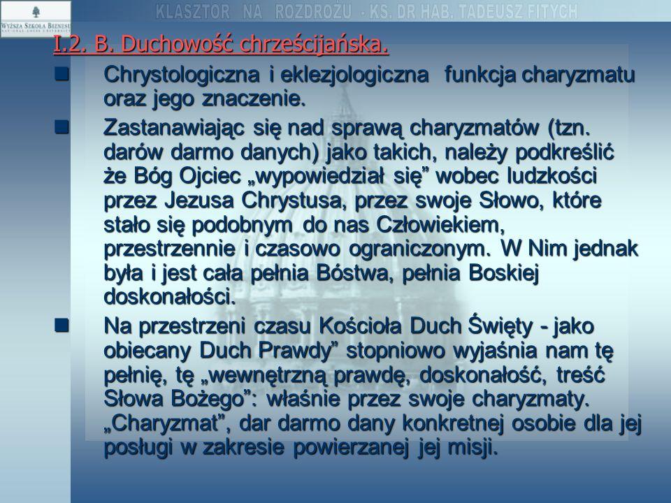 I.2. B. Duchowość chrześcijańska.