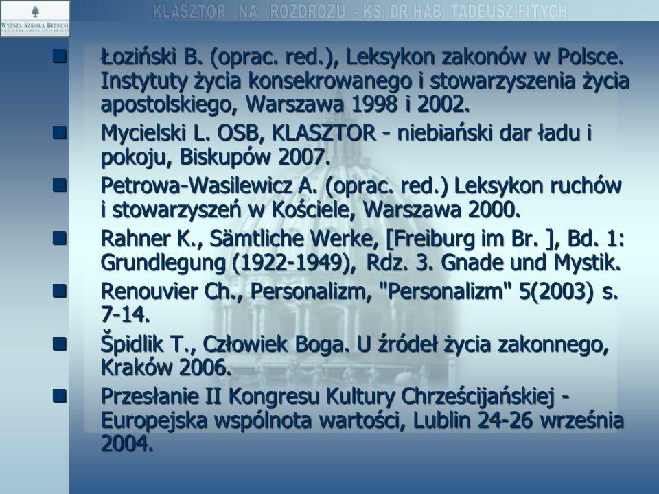 Łoziński B. (oprac. red. ), Leksykon zakonów w Polsce