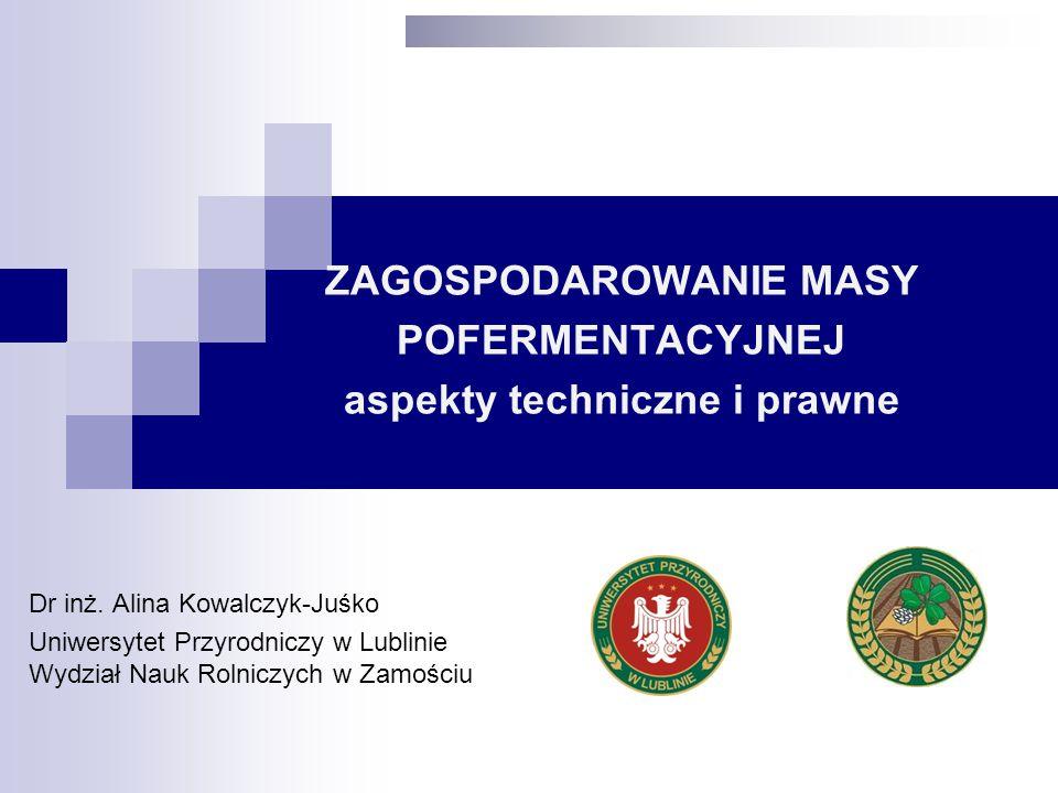 ZAGOSPODAROWANIE MASY POFERMENTACYJNEJ aspekty techniczne i prawne