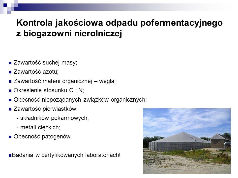 Kontrola jakościowa odpadu pofermentacyjnego z biogazowni nierolniczej