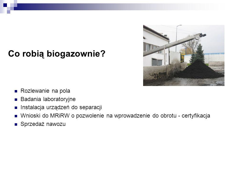 Co robią biogazownie Rozlewanie na pola Badania laboratoryjne