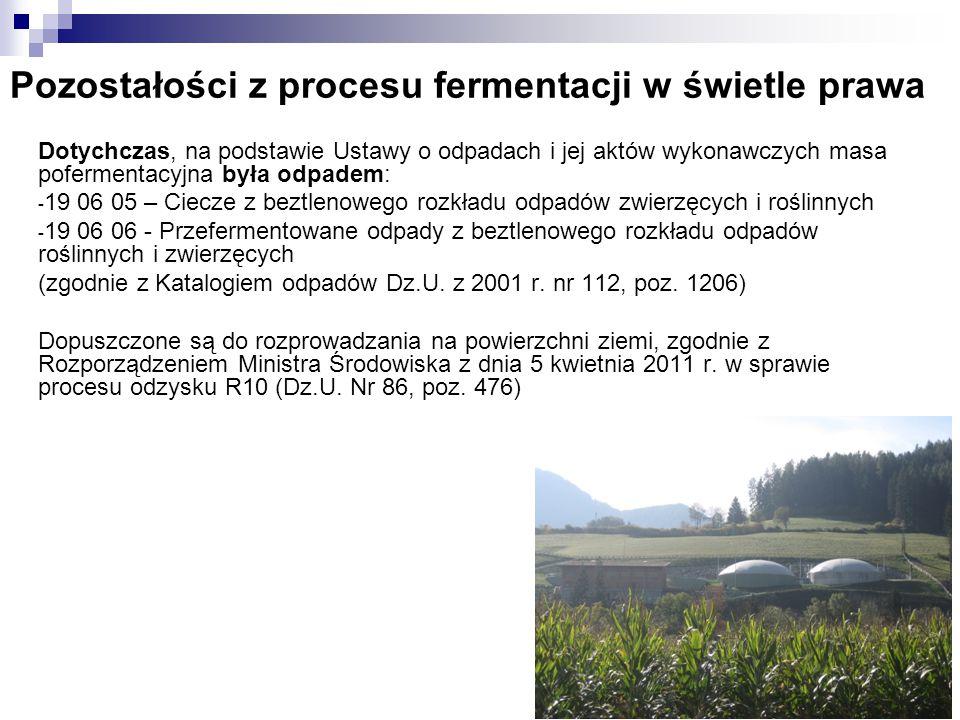 Pozostałości z procesu fermentacji w świetle prawa