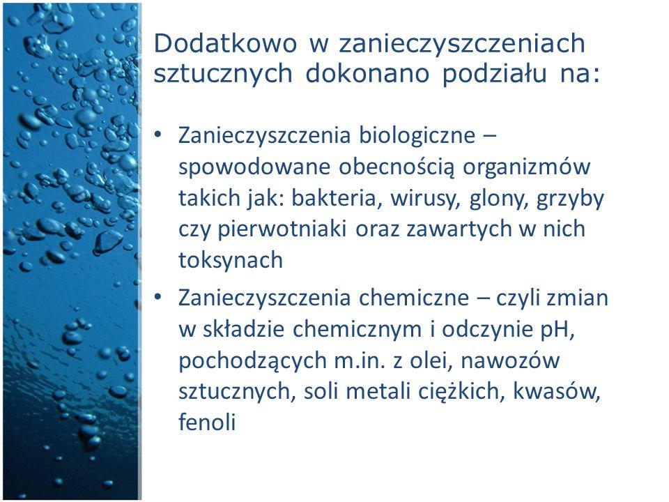 Dodatkowo w zanieczyszczeniach sztucznych dokonano podziału na: