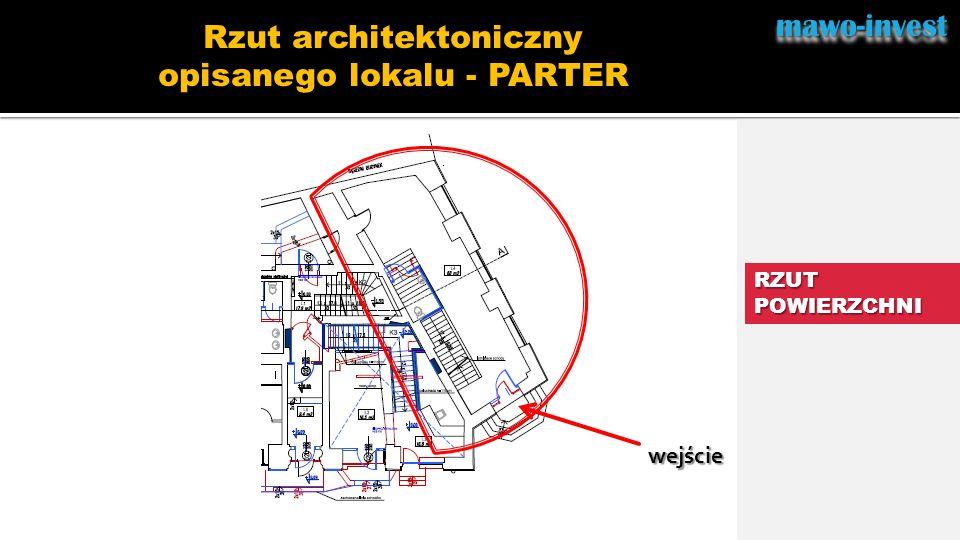 Rzut architektoniczny opisanego lokalu - PARTER