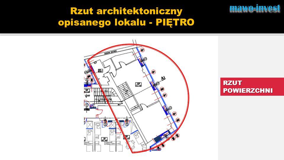 Rzut architektoniczny opisanego lokalu - PIĘTRO