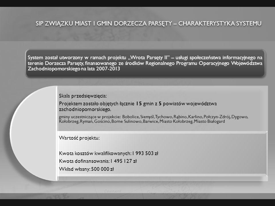 Sip Związku miast i gmin dorzecza Parsęty – CHARAKTERYSTYKA SYSTEMU