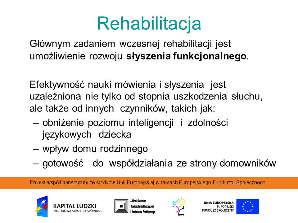 Rehabilitacja Głównym zadaniem wczesnej rehabilitacji jest umożliwienie rozwoju słyszenia funkcjonalnego.