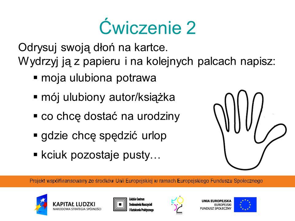 Ćwiczenie 2 Odrysuj swoją dłoń na kartce.