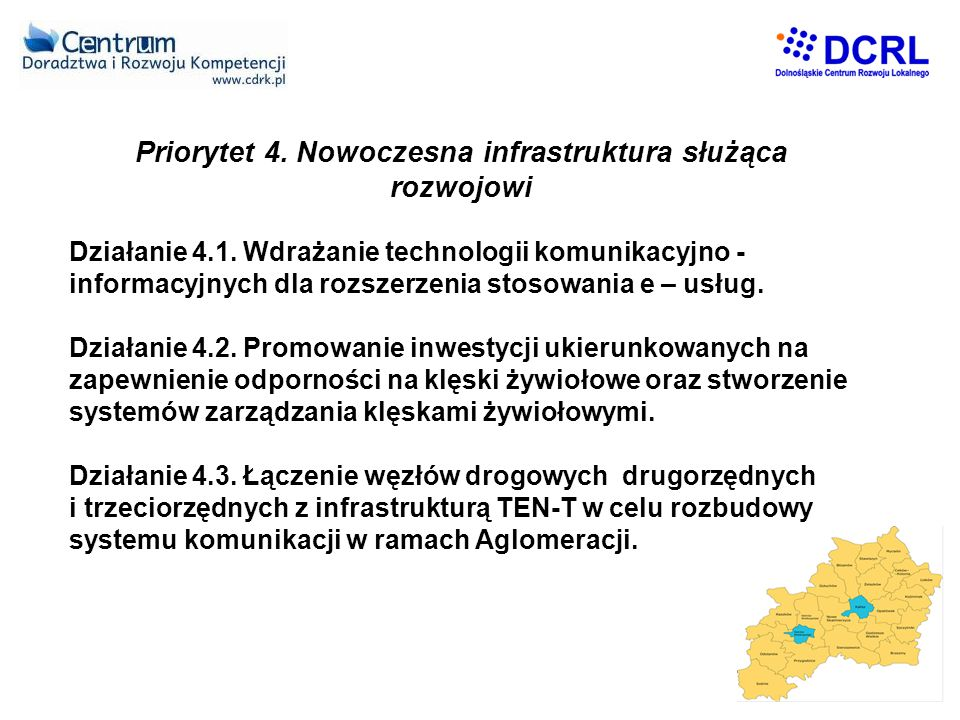 Priorytet 4. Nowoczesna infrastruktura służąca rozwojowi