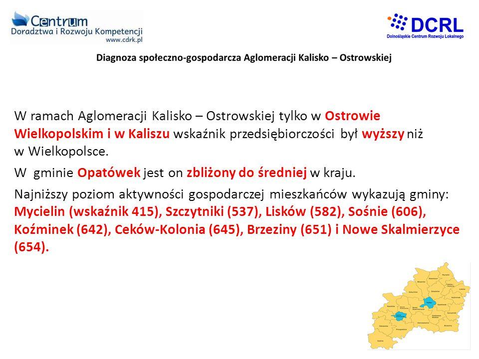 W ramach Aglomeracji Kalisko – Ostrowskiej tylko w Ostrowie Wielkopolskim i w Kaliszu wskaźnik przedsiębiorczości był wyższy niż w Wielkopolsce.