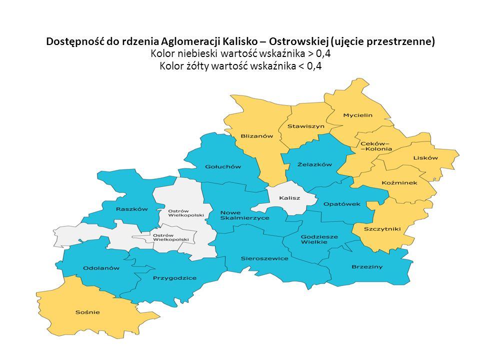 Dostępność do rdzenia Aglomeracji Kalisko – Ostrowskiej (ujęcie przestrzenne) Kolor niebieski wartość wskaźnika > 0,4 Kolor żółty wartość wskaźnika < 0,4