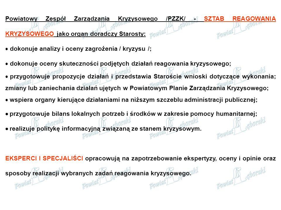 Powiatowy Zespół Zarządzania Kryzysowego /PZZK/ - SZTAB REAGOWANIA KRYZYSOWEGO jako organ doradczy Starosty: