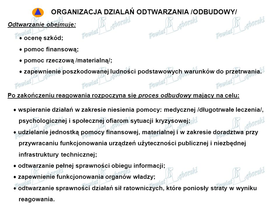 ORGANIZACJA DZIALAŃ ODTWARZANIA /ODBUDOWY/