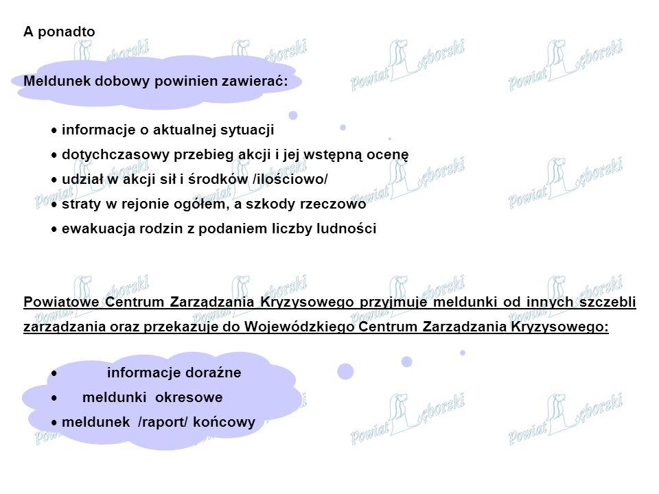 A ponadto Meldunek dobowy powinien zawierać: informacje o aktualnej sytuacji. dotychczasowy przebieg akcji i jej wstępną ocenę.