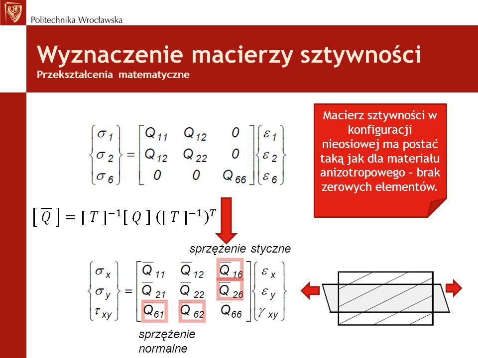 Wyznaczenie macierzy sztywności Przekształcenia matematyczne