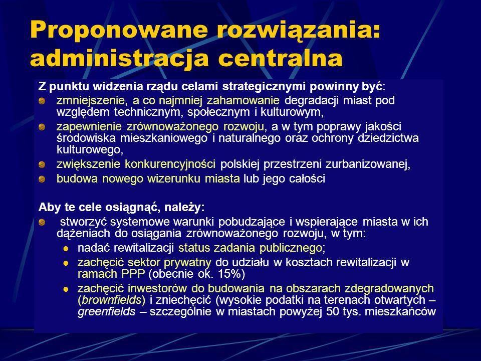 Proponowane rozwiązania: administracja centralna