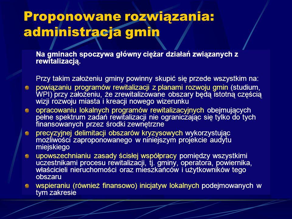 Proponowane rozwiązania: administracja gmin