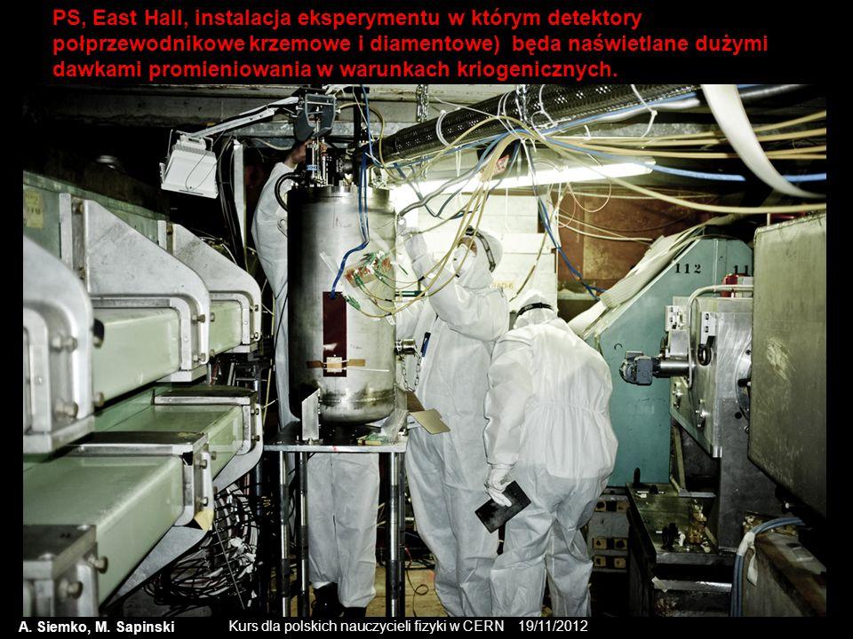 PS, East Hall, instalacja eksperymentu w którym detektory połprzewodnikowe krzemowe i diamentowe) będa naświetlane dużymi dawkami promieniowania w warunkach kriogenicznych.