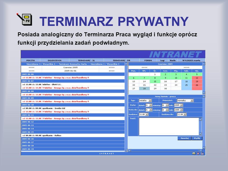 TERMINARZ PRYWATNY Posiada analogiczny do Terminarza Praca wygląd i funkcje oprócz.