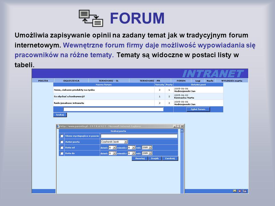 FORUM Umożliwia zapisywanie opinii na zadany temat jak w tradycyjnym forum. internetowym. Wewnętrzne forum firmy daje możliwość wypowiadania się.