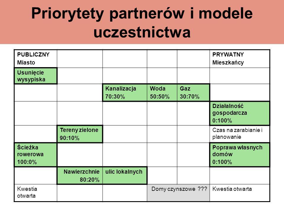 Priorytety partnerów i modele uczestnictwa