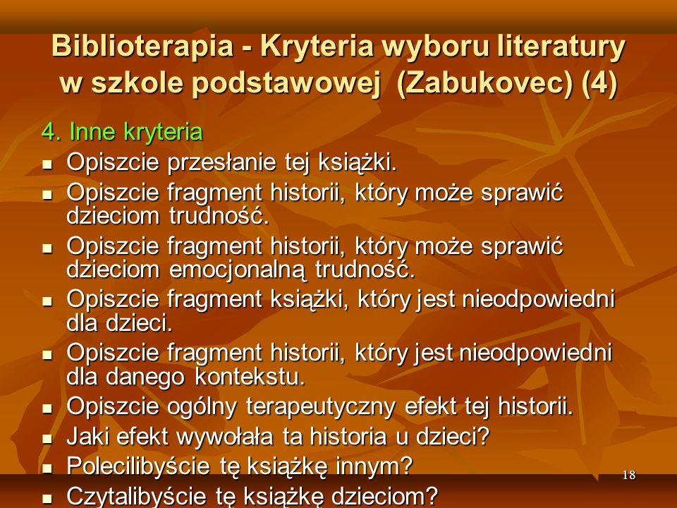 Biblioterapia - Kryteria wyboru literatury w szkole podstawowej (Zabukovec) (4)