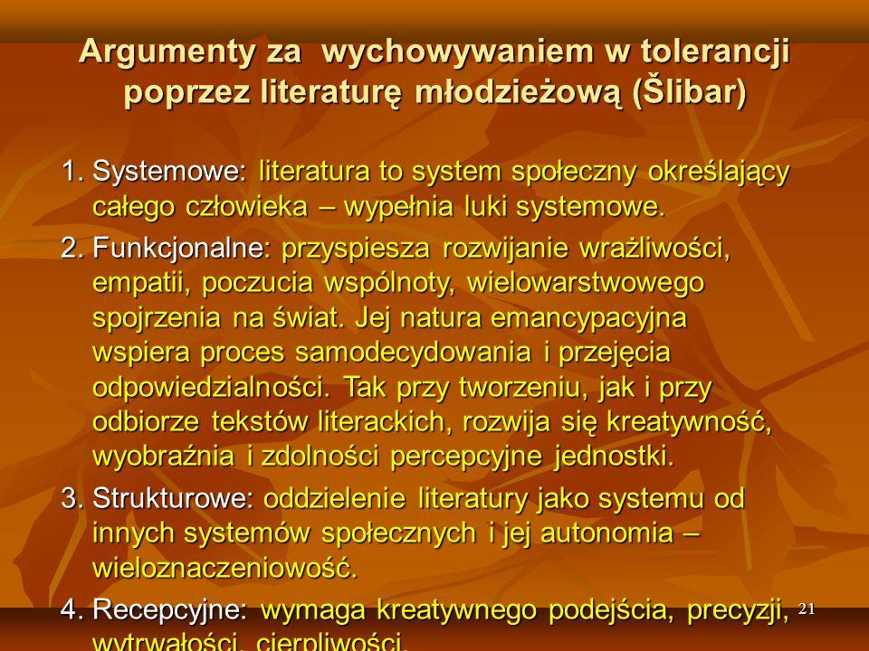 Argumenty za wychowywaniem w tolerancji poprzez literaturę młodzieżową (Šlibar)