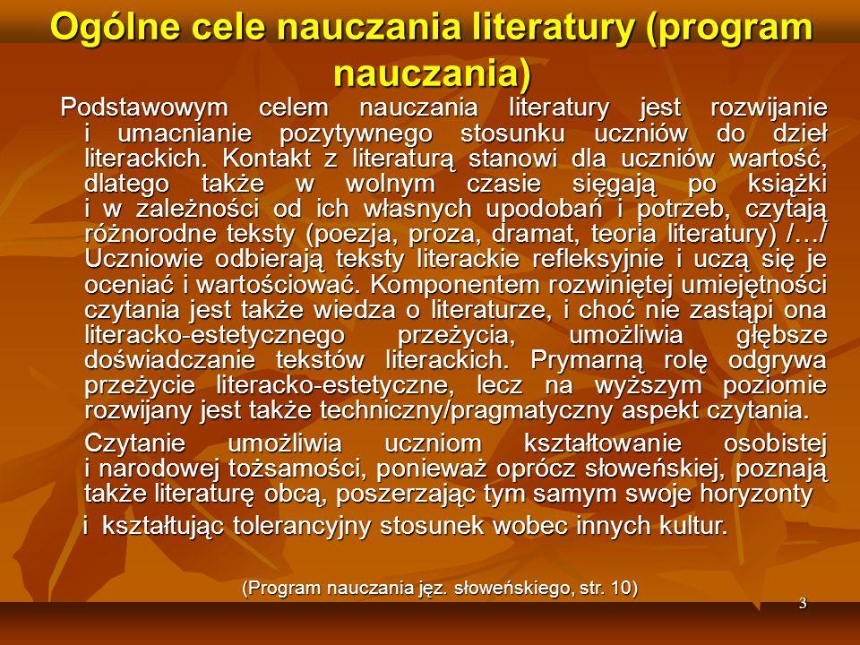 Ogólne cele nauczania literatury (program nauczania)