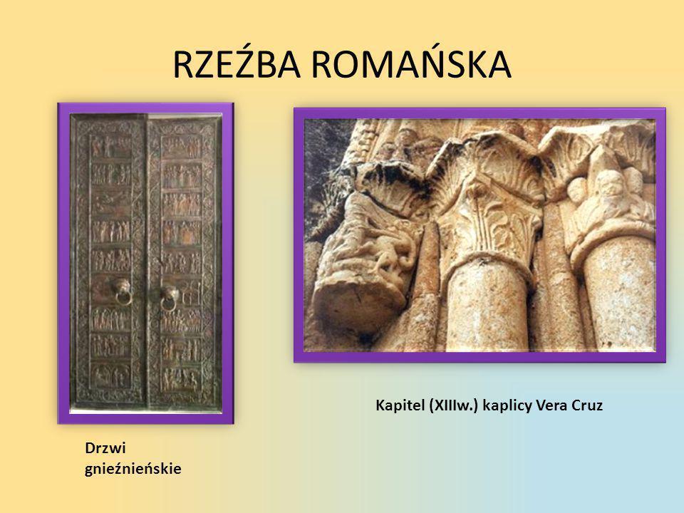 RZEŹBA ROMAŃSKA Kapitel (XIIIw.) kaplicy Vera Cruz Drzwi gnieźnieńskie
