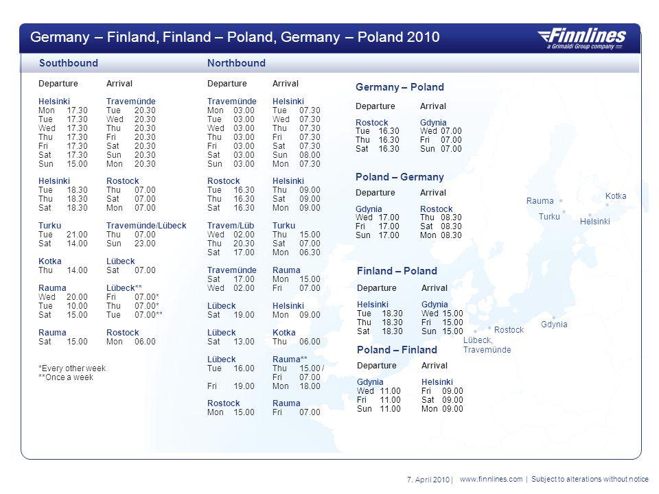 Germany – Finland, Finland – Poland, Germany – Poland 2010