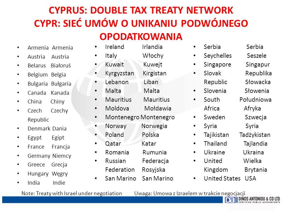 CYPRUS: DOUBLE TAX TREATY NETWORK CYPR: SIEĆ UMÓW O UNIKANIU PODWÓJNEGO OPODATKOWANIA