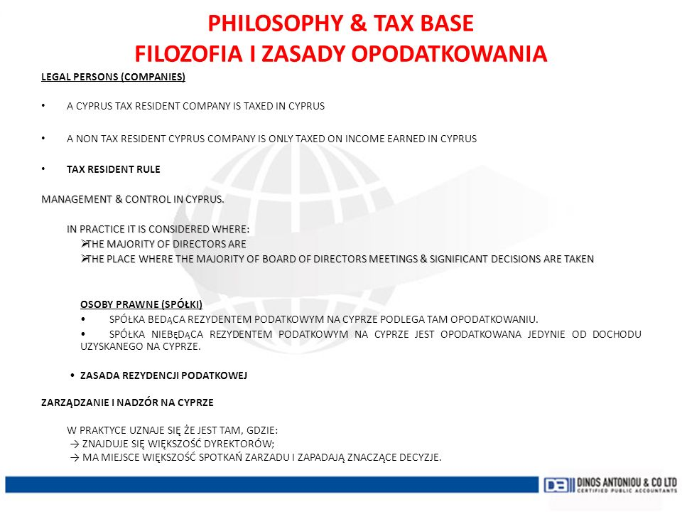 PHILOSOPHY & TAX BASE FILOZOFIA I ZASADY OPODATKOWANIA
