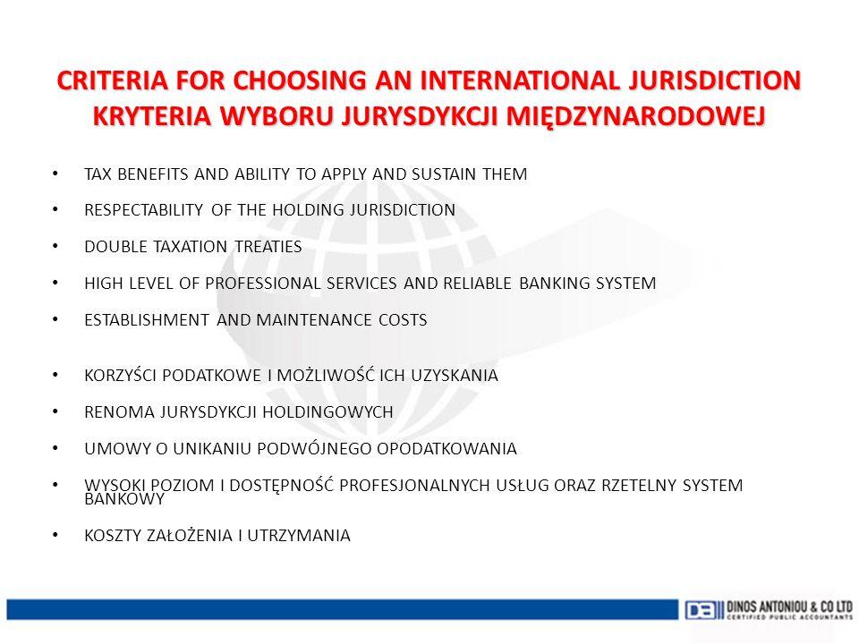 CRITERIA FOR CHOOSING AN INTERNATIONAL JURISDICTION KRYTERIA WYBORU JURYSDYKCJI MIĘDZYNARODOWEJ