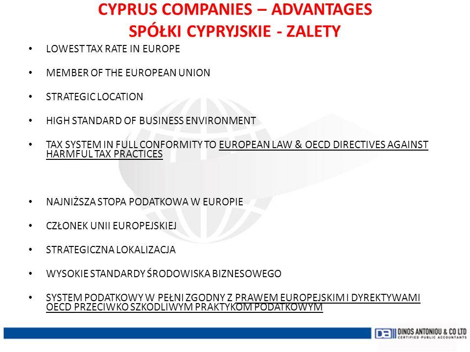 CYPRUS COMPANIES – ADVANTAGES SPÓŁKI CYPRYJSKIE - ZALETY