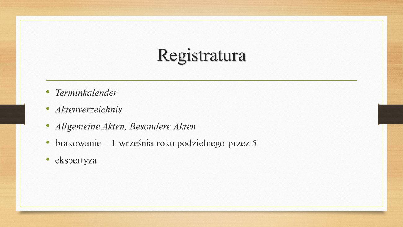 Registratura Terminkalender Aktenverzeichnis