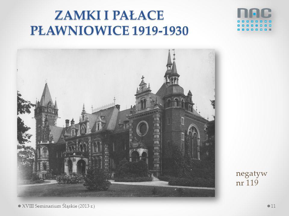ZAMKI I PAŁACE PŁAWNIOWICE 1919-1930