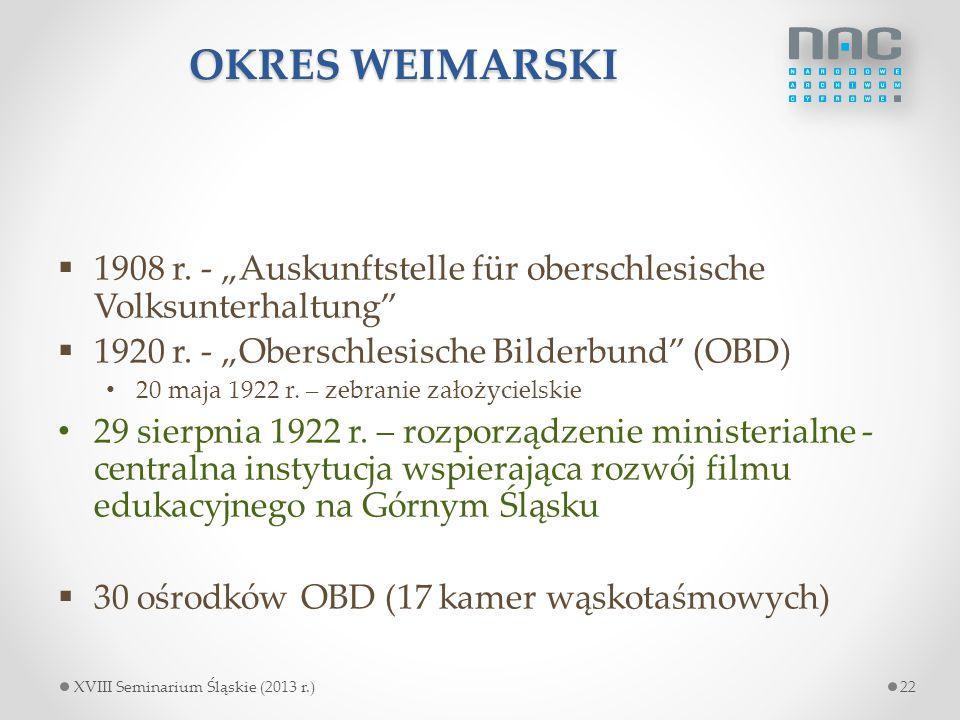 """OKRES WEIMARSKI 1908 r. - """"Auskunftstelle für oberschlesische Volksunterhaltung 1920 r. - """"Oberschlesische Bilderbund (OBD)"""