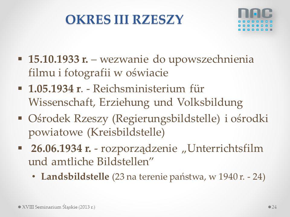 OKRES III RZESZY 15.10.1933 r. – wezwanie do upowszechnienia filmu i fotografii w oświacie.