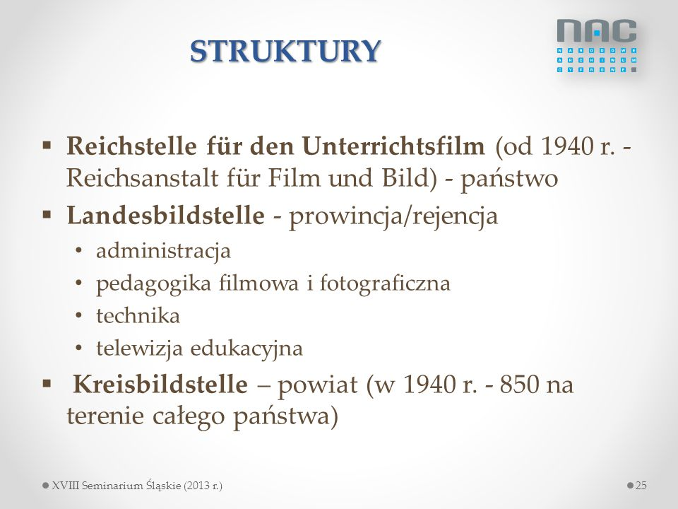 STRUKTURY Reichstelle für den Unterrichtsfilm (od 1940 r. - Reichsanstalt für Film und Bild) - państwo.